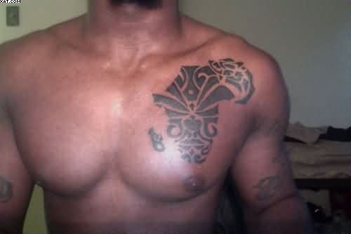 Creative Grey Color Ink African Map Tattoo On Man Chest For Boys Only
