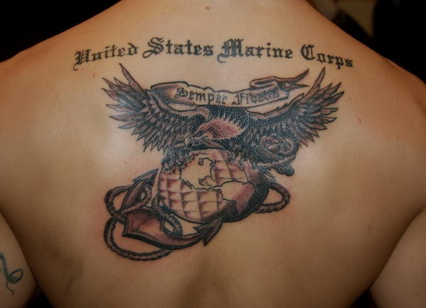Creative Grey Ink Anchor Rope Globe Eagle Banner Quote Tattoo On Men Back
