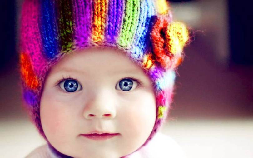 Cute Little Baby Wearing Colorful Cap Hd Wallpaper