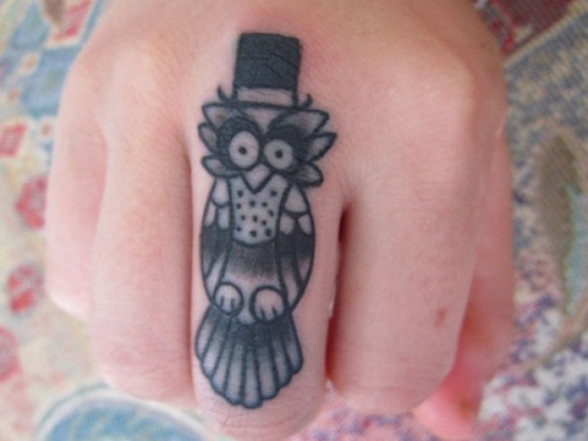 Cutest Grey Ink Baby Owl With Hat Tattoo For Men Middle Finger