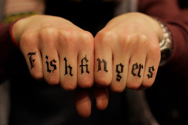 Eye Catching Font Finger Tattoo With Black Ink For Man And Woman