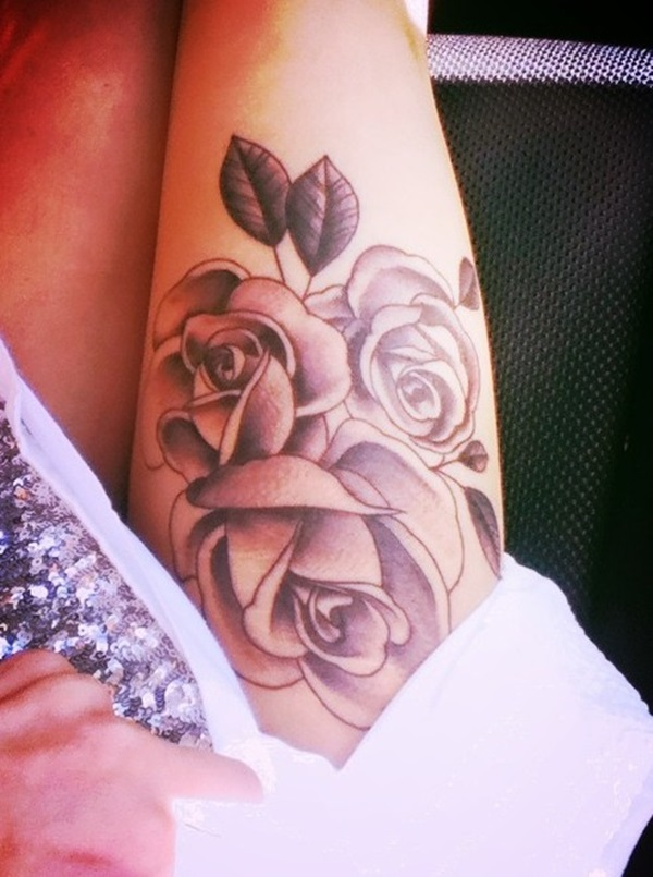 Fabulous Grey Ink Rose Flower With Leaf Tattoo On Thigh