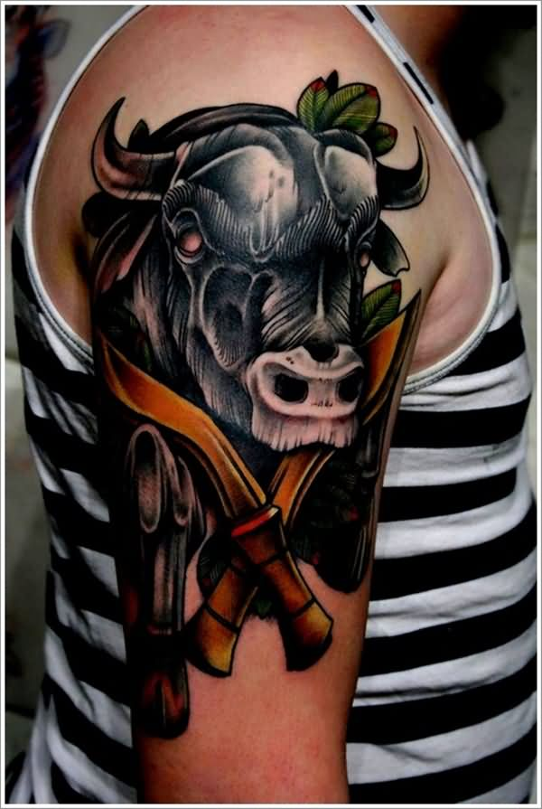 Fantastic Black Ink Bull Dagger Tattoo For Men Shoulder