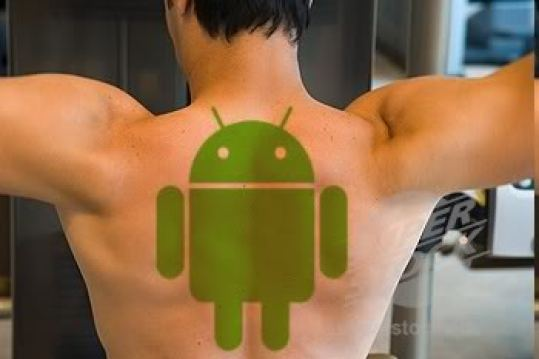Fantastic Green Ink Android Tattoo Design For Men Back Body