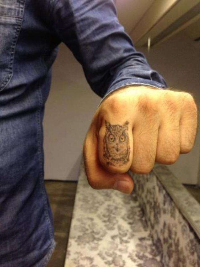 Fantastic Grey Ink Small Owl Tattoo Design For Men Index Finger