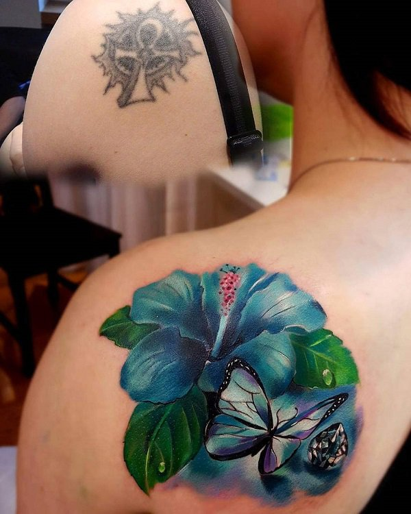 Fantastic Hibiscus And Butterfly Cover Up Tattoo With Colourful Ink For Man And Woman