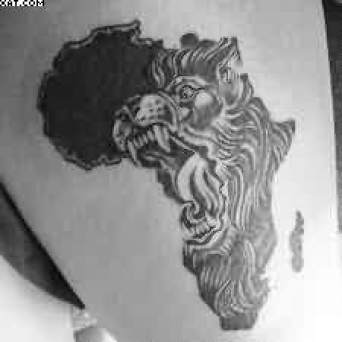 Great Black Color Ink Angry African Lion Face Tattoo On Boy Arm For Boys