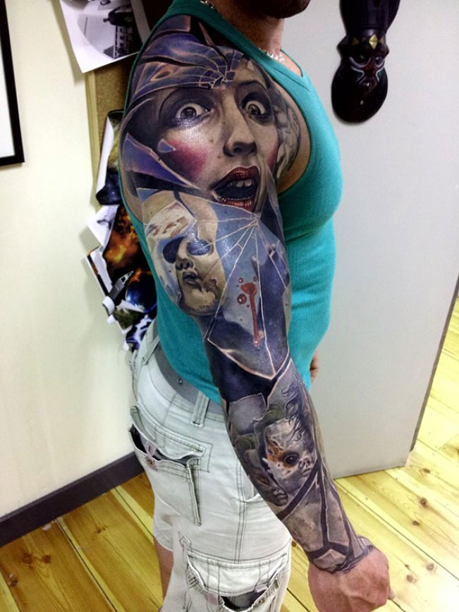 Great Blue Red And Black Color Ink Lady Tattoo On Boy's Full Arm