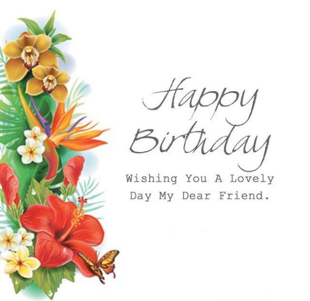 Happy Birthday Dear Friend Beautiful Greeting Card