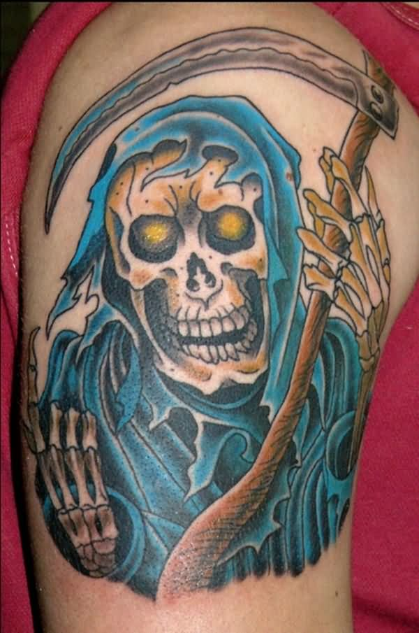 Horrible Grim Reaper Animated Tattoo For Men Shoulder