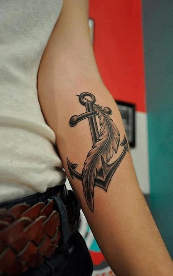Impressive Anchor Feather Tattoo Idea For Men Sleeve