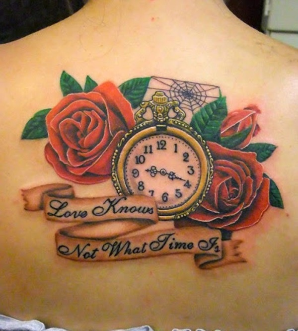 Impressive Red Rose Flower Gree Leaf Clock Banner Tattoo On Women Back Body