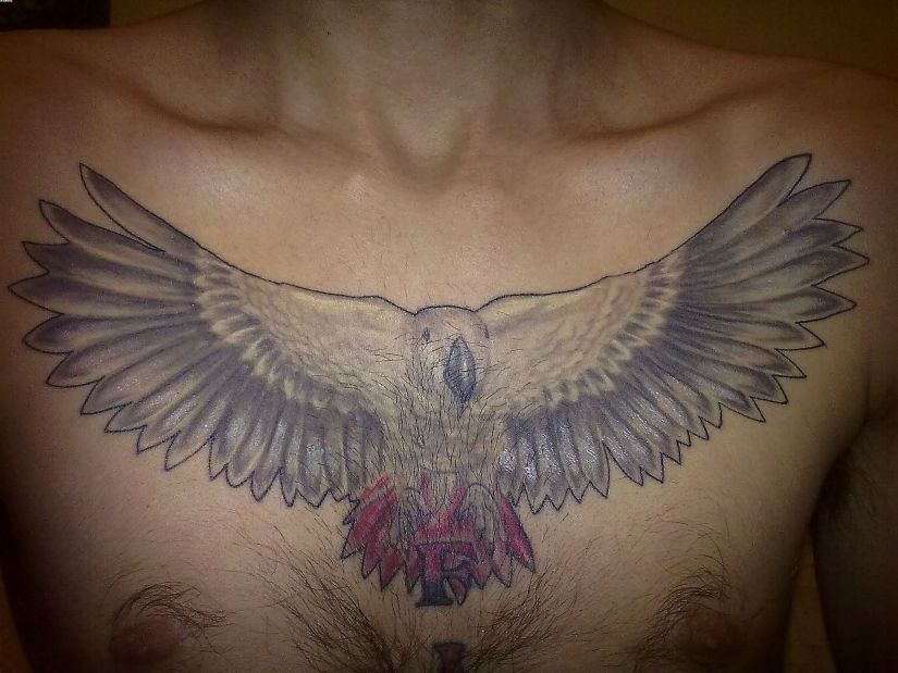 Inspiring Grey And Red Color Ink African Bird Tattoo On Boy Chest
