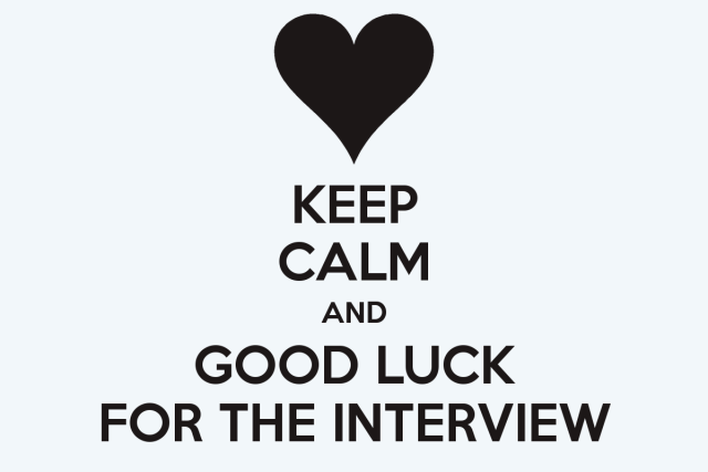 Keep Calm And Good Luck For The Interview Greeting Image