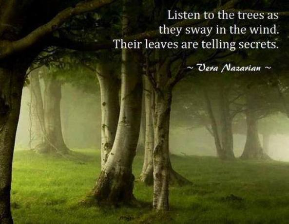 Listen to the trees as they sway in the wind.Their leaves are telling Vera Nazarian