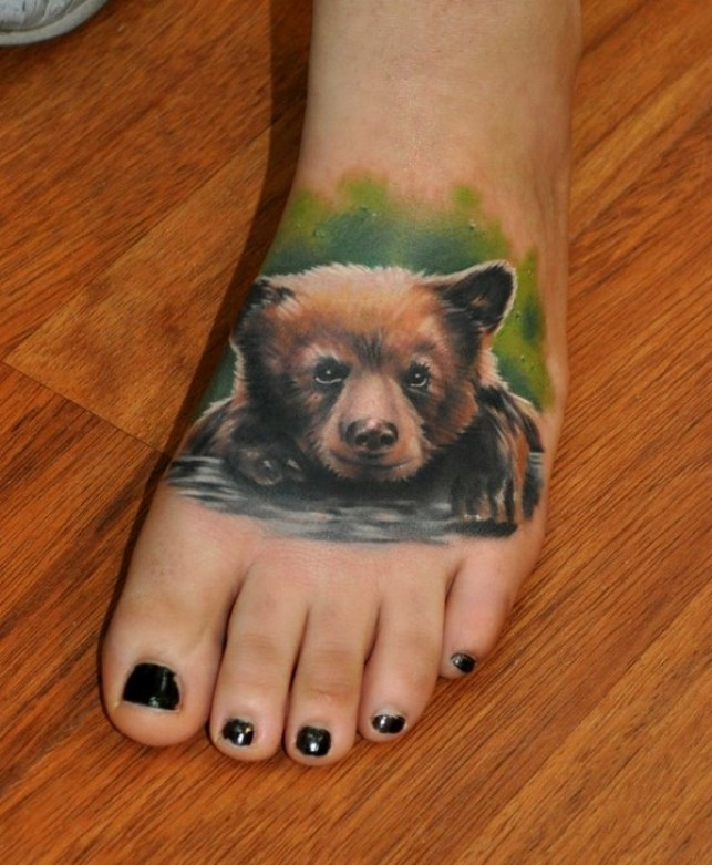 Lovely 3d Animated Colorful Bear Baby Tattoo Design On Foot