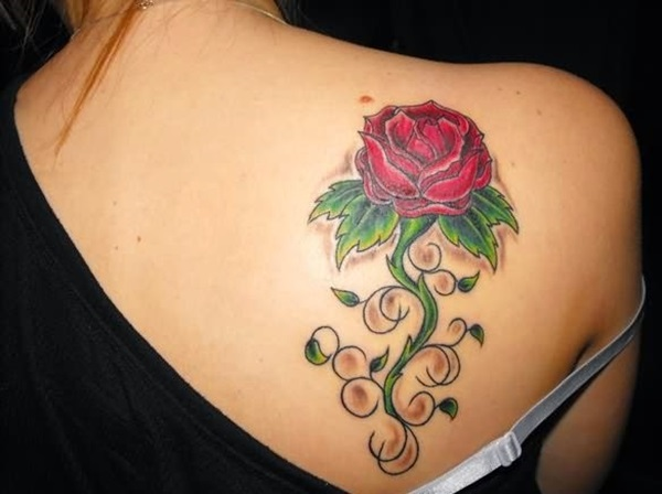 Lovely Red Ink Rose Flower Vine Tattoo On Back Body