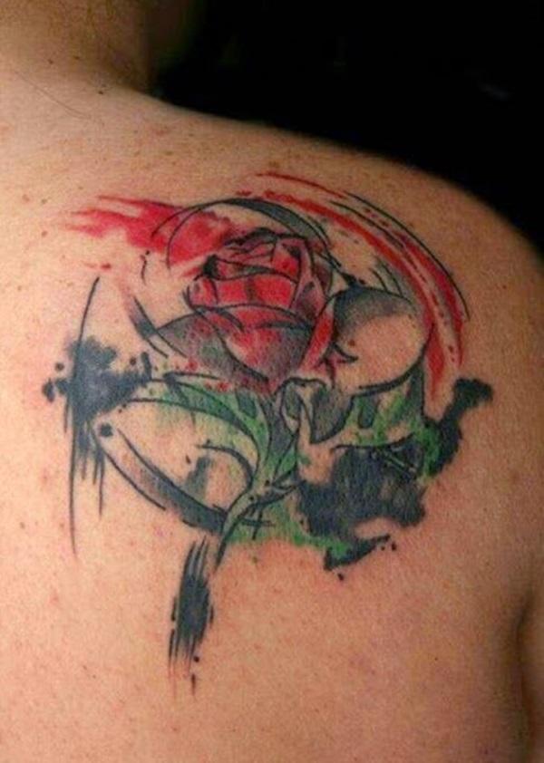 Marvelous Watercolor Rose Flower Tattoo Made On Back Shoulder