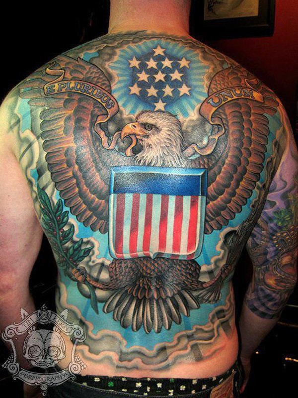 Men Full Back Decorated With American Flag Eagle Star Banner Tattoo