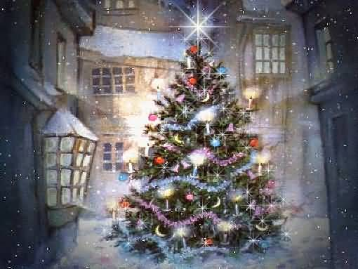 Merry Christmas Wishes Tree Animation Picture