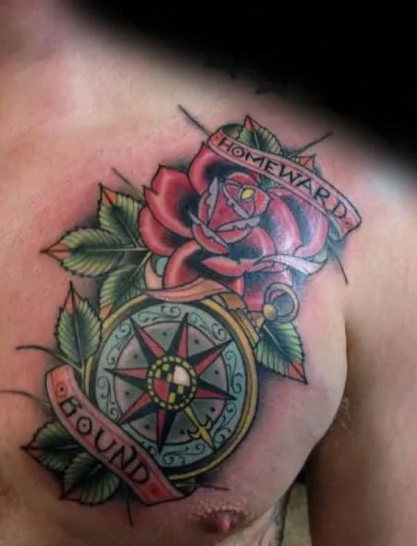 Mind Blowing Compass Banner Rose Flower With Leaf 3d Tattoo On Men Chest
