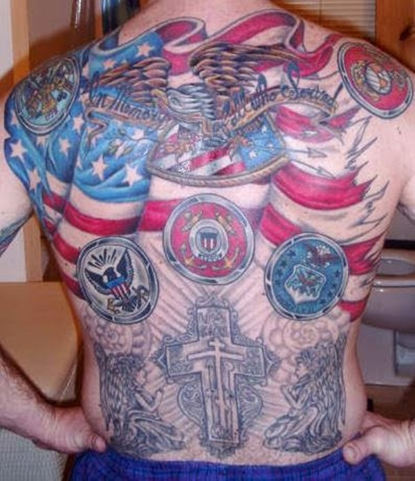 Mind Blowing Old American Flag Cross Batch Tattoo On Men Back