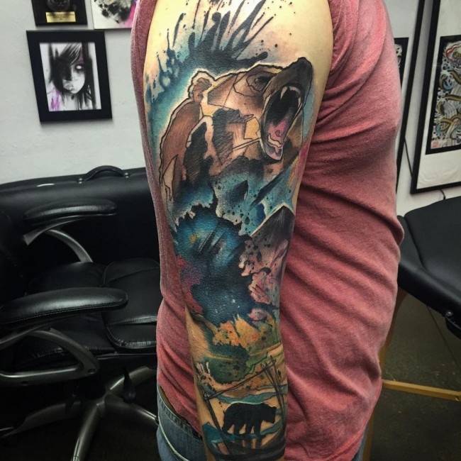 Mind Blowing Watercolor Ink Bear Head Tattoo Design On Men Full Sleeve