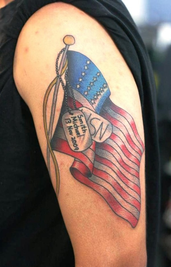 Most Amazing Dog Tag American Flag Tattoo For Men Upper Arm