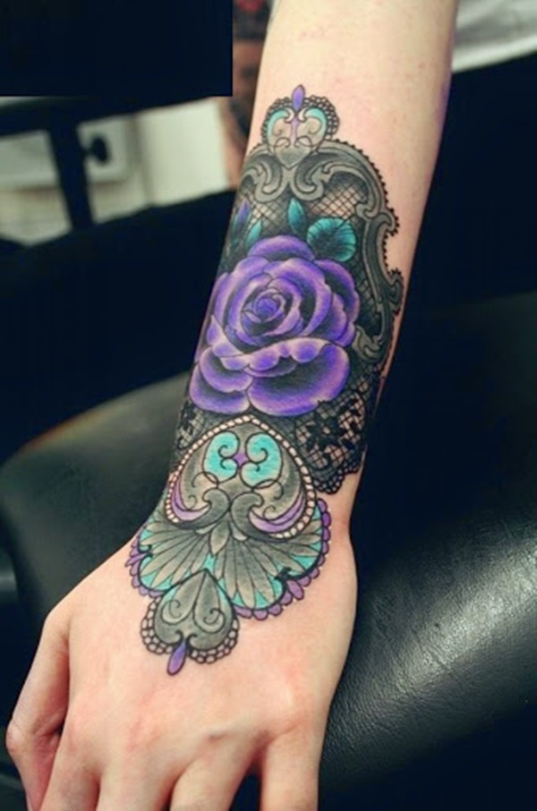 Most Amazing Purple Ink Rose Flower Traditional Pattern Tattoo On Girl Lower Arm