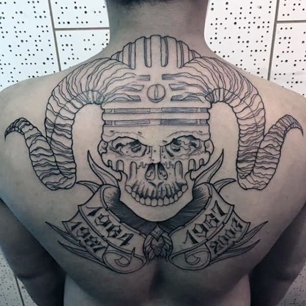Most Scary Skull And Banner Tattoo Outline Design On Men Back