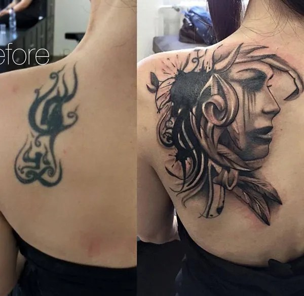 Most Amazing Portrait Cover Up Tattoo On Back With Black Ink For Man And Woman