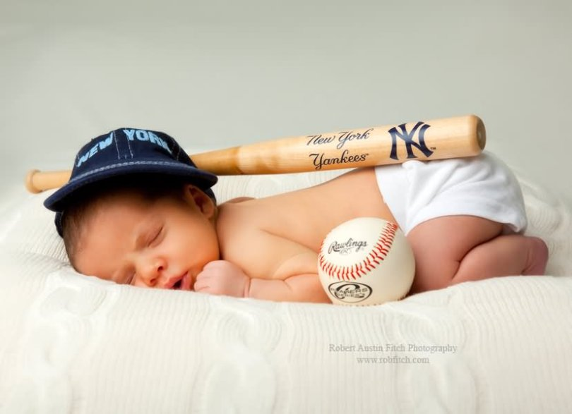 New York Baby Baseball With Bat Picture