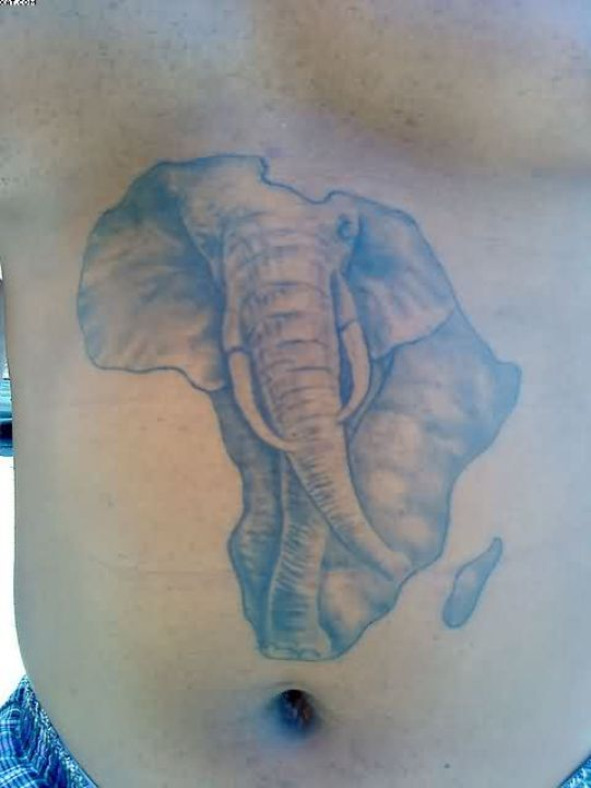 Nice Grey Color Ink African Elephant Face Tattoo On Belly For Boys