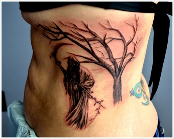 Nice Grim Reaper Tattoo Idea For Women Ribs Side