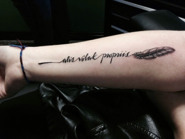 Nice Quote Feather Tattoo Design For Lower Arm