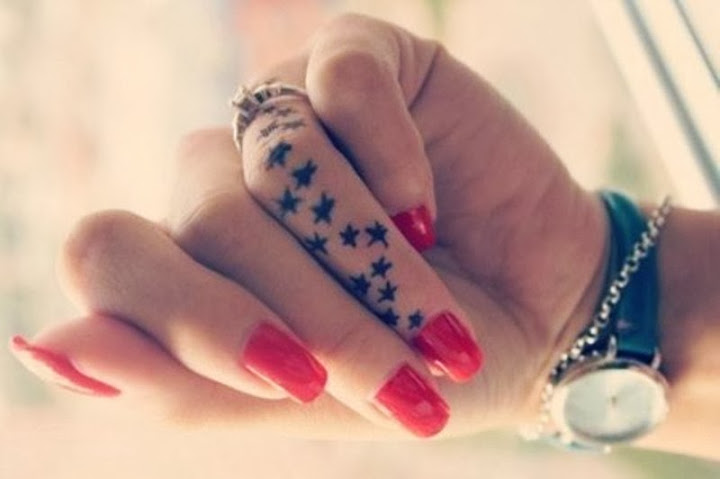 Nice Star Tattoo Design For Women Ring Finger