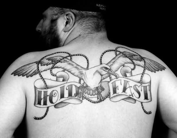 Outstanding Bird With Big Wings Hold Fast Banner And Rope Tattoo For Men Back Body