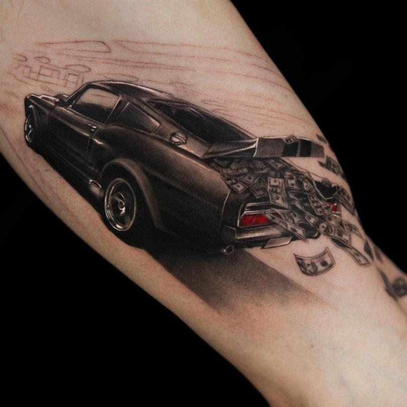 Realistic Black And Red Color Ink Money Falling Out In Car 3D Tattoo On Boy Arm