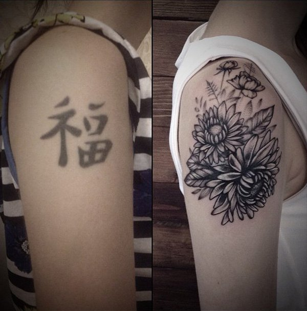 Simple Flower Cover Up Tattoo On Shoulder With Black Ink For Man And Woman