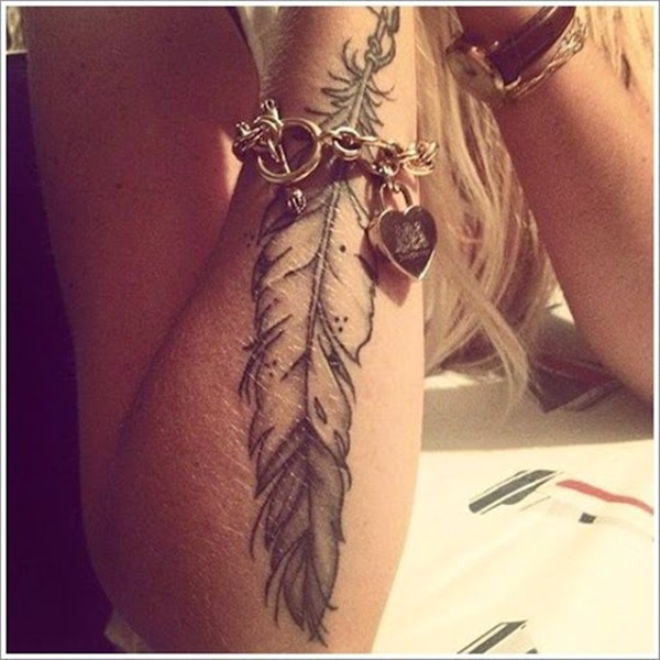 Simple Grey Ink Feather Tattoo Design On Girl Arm