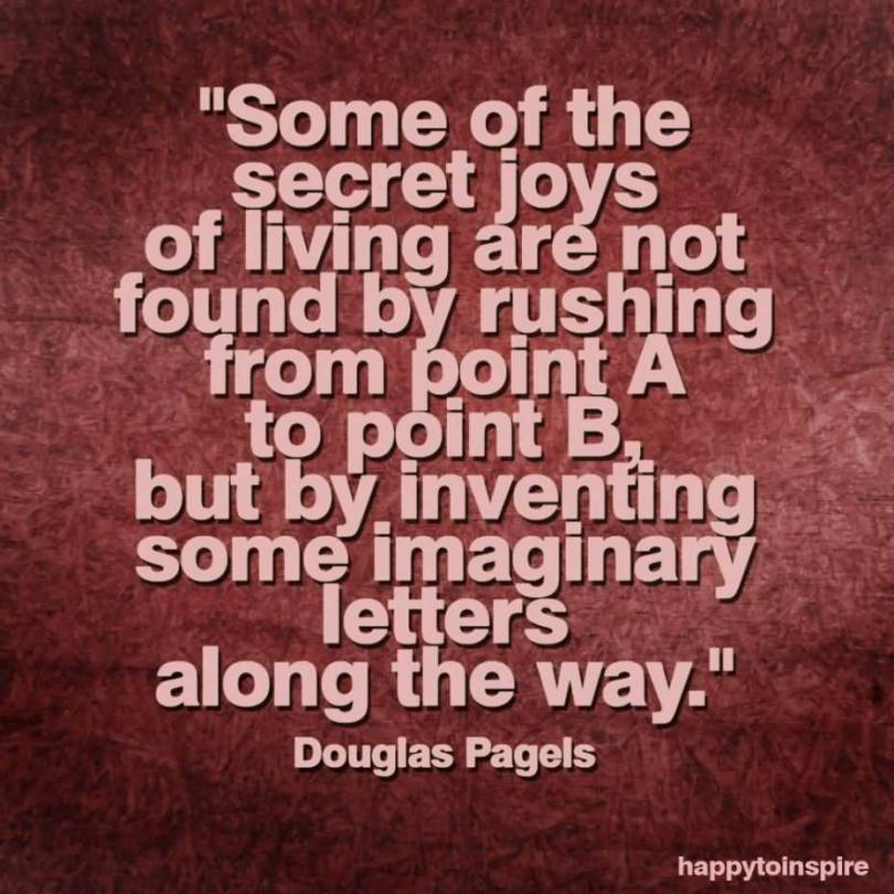 Some Of The Secret Joys Of Living Are Not Found By Rushing From Point A To Point B But By Inventing Some Douglas Pagels