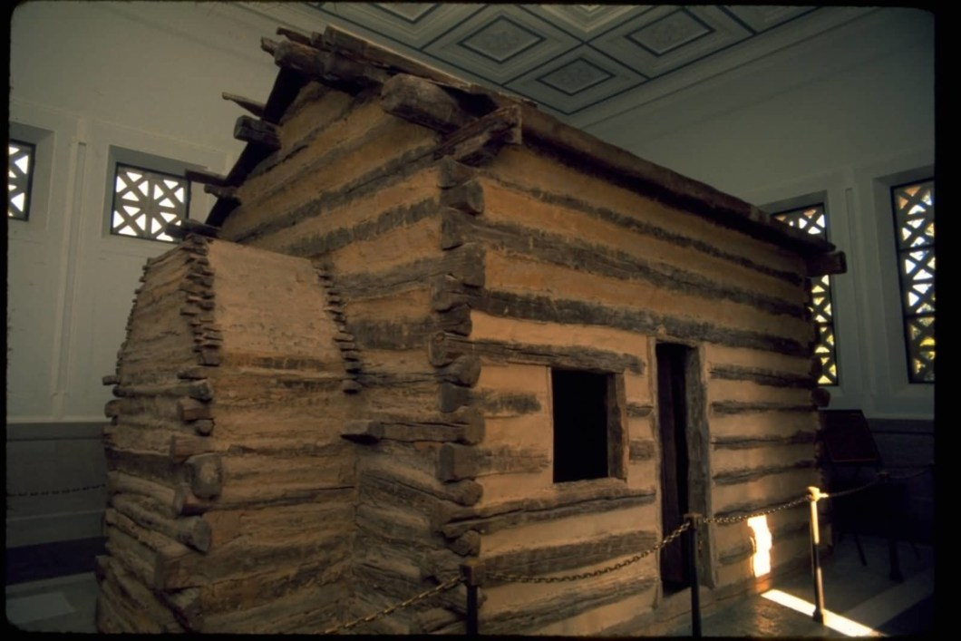 Stunning Side View Of Log Cabin Inside The Lincoln Memorial Photo
