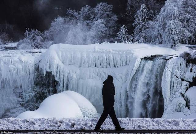 Stunning View Of Frozen Niaga With One Man Walking