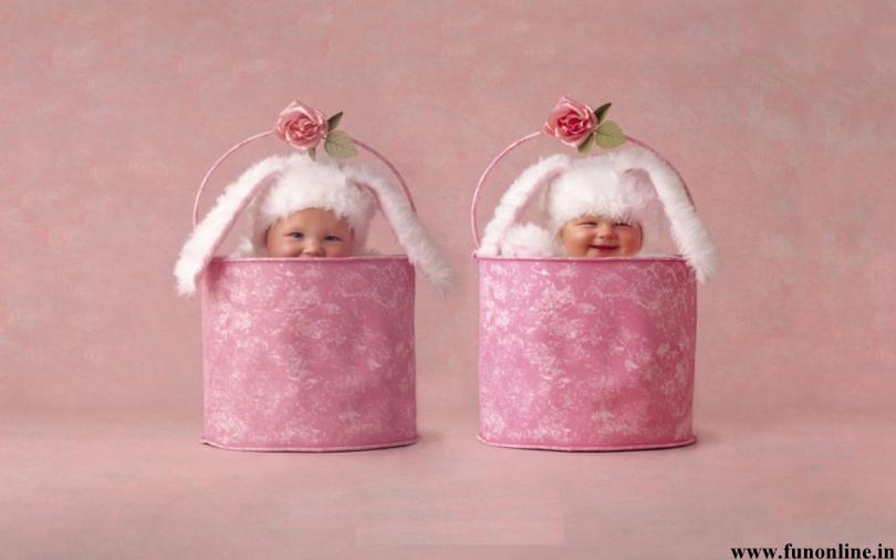 Sweet Babies Hiding In Bucket Picture