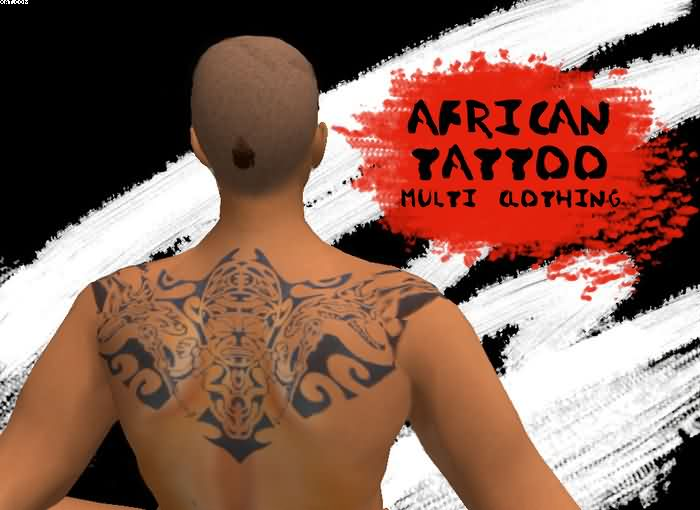 Terrific Grey Color Ink African Mask Tattoo On Upper Back For Boys