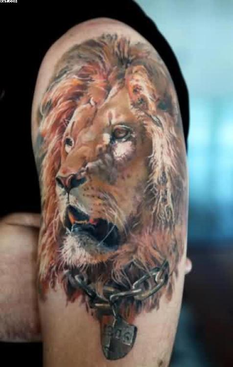 Traditional Red Green And Yellow light Color Ink African Lion Tattoo On Boy Shoulder For Boys