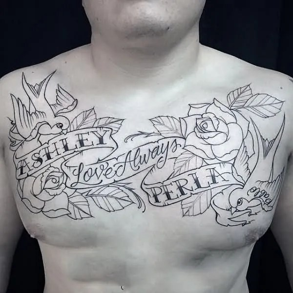 Ultimate Banner Rose Flower Love Birds And Banner Tattoo For Men Chest