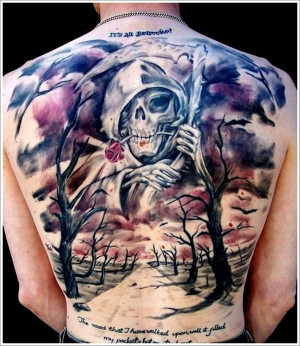 Ultimate Grey Grim Reaper 3d Tattoo With Dry Tree On Men Back Body