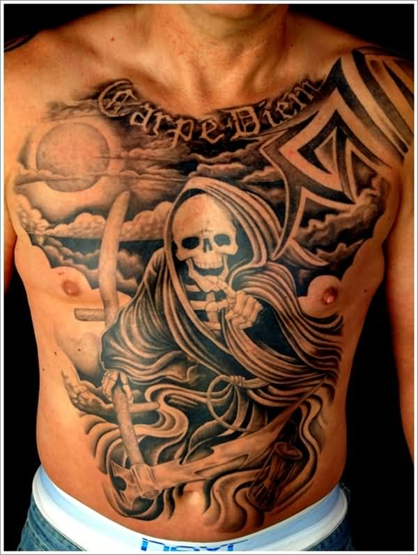 Ultimate Scary Skull Grim Reaper Men Chest Tattoo Design With Moon