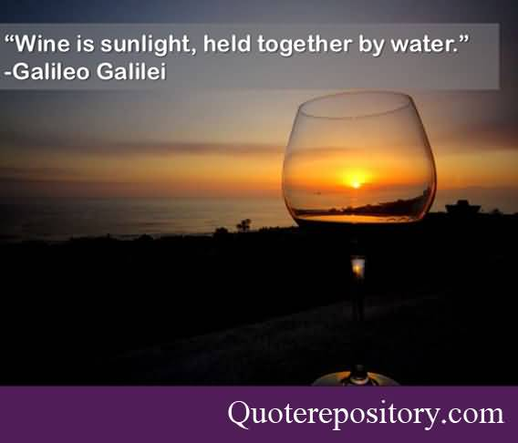 Wine Is Sunlight Held Together By Water Galileo Galilei